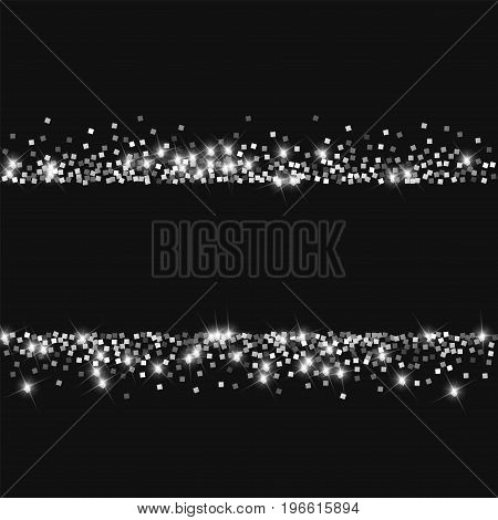 Sparkling Silver. Scatter Lines With Sparkling Silver On Black Background. Vector Illustration.