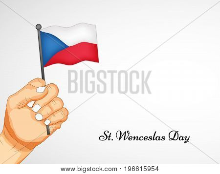 illustration of hand holding Czech Republic flag with St. Wenceslas Day text on the occasion of St. Wenceslas Day. St. Wenceslas Day is the feast day of St. Wenceslas, the patron saint of Bohemia, and commemorates his death in 935. Celebrated as national