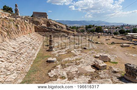 View of Telesterion, ancient Eleusis, Attica, Greece