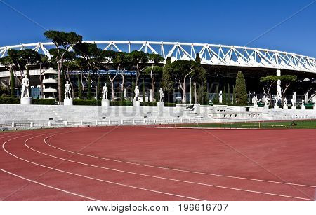 Rome, Italy - April 19, 2017: Statue in the Marble Stadium of Rome, Italy