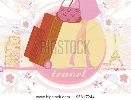 travel girl in France and Italy with baggage , vector illustration
