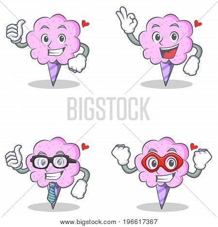 Cotton candy character set with proud okay businessman hero vector illustration