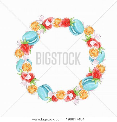 Decorative watercolor frame with candies and berries
