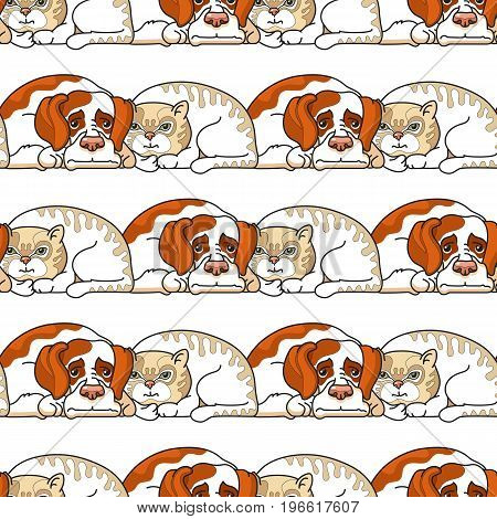 Vector cartoon dogs and cats. Seamless pattern on white background.