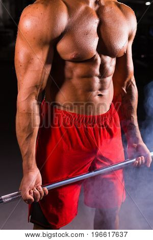 Young handsome bodybuilder sportsman working out with a barbell in gym, doing biceps training, close up.
