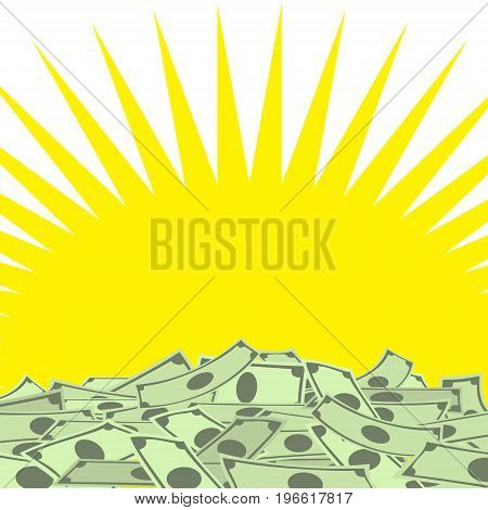Pile of money on yellow star background with place for your text