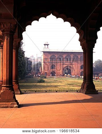 DELHI, INDIA - NOVEMBER 21, 1993 - Naqqar Khana seen through an arch in the courtyard of the Red Fort Delhi Delhi Union Territory India, November 21, 1993.