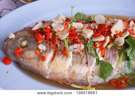Steamed snapper fish with lemon - spicy Thailand food