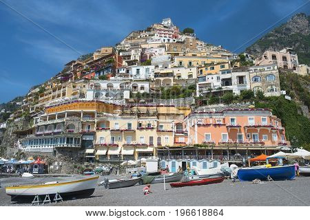 Positano, Italy - may 24, 2017: scenic view of Positano, cliffside village at the Amalfi Coast, Campania region in southern Italy
