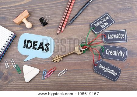 ideas concept. The key to success on a wooden office desk.