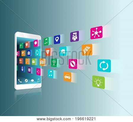The application downloaded and installed to smartphone icons fly into the smartphone vector illustration is ordered by layers