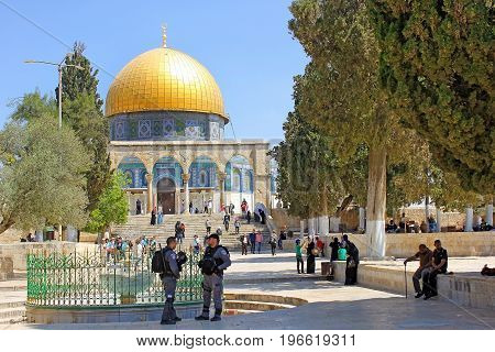 JERUSALEM, ISRAEL - June 15, 2017: israeli police keep order on the Temple Mount, Old City of Jerusalem, Israel
