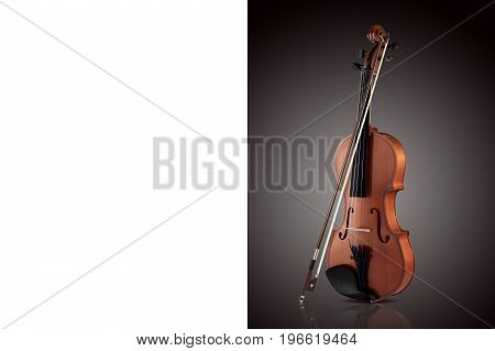 Violin on a black gradient background. Place for text.