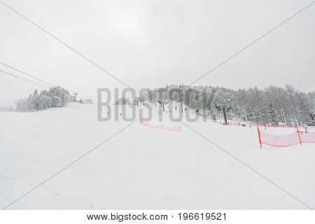 Yamakata, Japan - February 7, 2017: Rope-way in winter at Zao ski moutain, Yamagata Japan