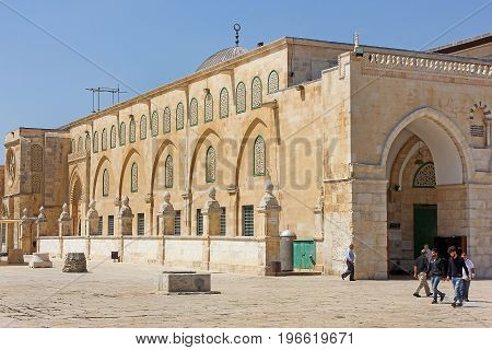 JERUSALEM, ISRAEL - June 15, 2017: Al-Aqsa Mosque, also known as Al-Aqsa and Bayt al-Muqaddas, is the third holiest site in Sunni Islam and is located in the Old City of Jerusalem, Israel