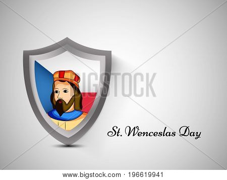 illustration of shield in Czech Republic flag background and St. Wenceslas with St. Wenceslas day text on the occasion of St. Wenceslas Day. It is the feast day of St. Wenceslas, the patron saint of Bohemia, and commemorates his death in 935.