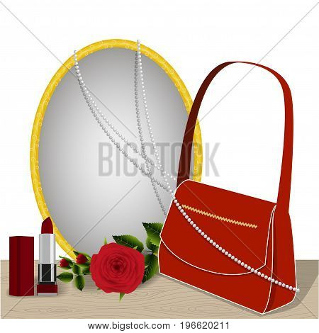 Mirror on the table, rose and accessories, red bag, lipstick and pearl necklace reflected in the mirror, isolated on white background, illustration