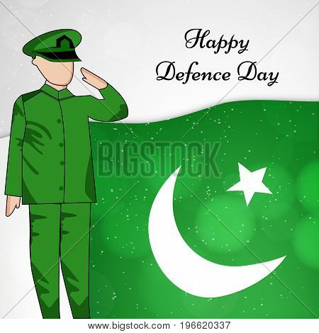 illustration of soldier saluting on Pakistan flag background with Happy defence Day text on the occasion of Pakistan defence day