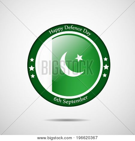 illustration of stamp in Pakistan flag background with Happy defence Day 6th September text on the occasion of Pakistan defence day