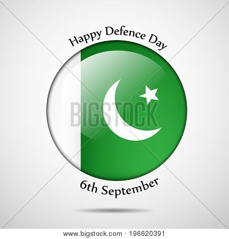 illustration of button in Pakistan flag background with Happy defence Day 6th September text on the occasion of Pakistan defence day