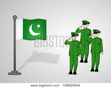 illustration of soldiers saluting and Pakistan flag on the occasion of Pakistan defence day