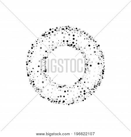 Dense Black Dots. Bagel Shaped Frame With Dense Black Dots On White Background. Vector Illustration.