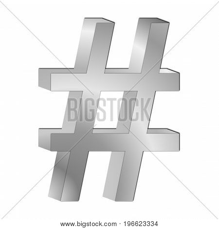 glossy silver Hashtag Symbol - 3D illustration