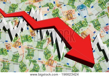 Dropping Arrow With Euro Money Background