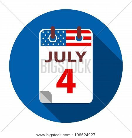 4 July calendar flat icon. Independence day in USA
