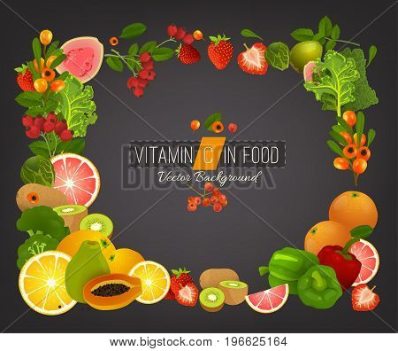 Vitamin C vector illustration. Foods containing vitamin C on dark background. Healthy fruits, berries and vegetables. Vector illustration in bright colours. Medical, healthcare and dietary concept.