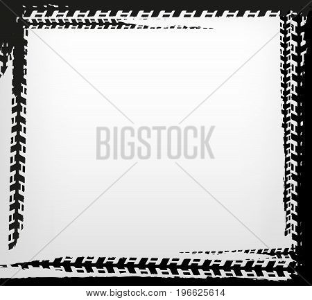 Grunge tire track frame in square shape. Beautiful vector illustration in dark grey colours isolated on a white background.