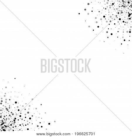 Dense Black Dots. Circular Corners With Dense Black Dots On White Background. Vector Illustration.