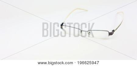 Blurry Of Smart Eye Glasses With White  Plastic Leg