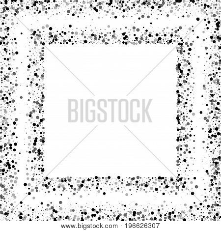 Dense Black Dots. Square Scattered Frame With Dense Black Dots On White Background. Vector Illustrat