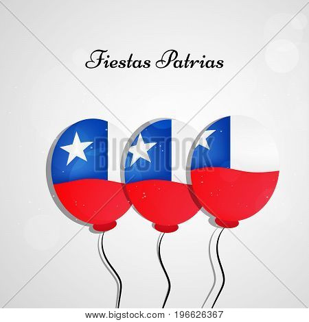 illustration of balloons in Chile flag background with Fiestas Patrias text on the occasion of Chilean Fiestas Patrias