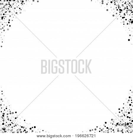 Dense Black Dots. Corners With Dense Black Dots On White Background. Vector Illustration.