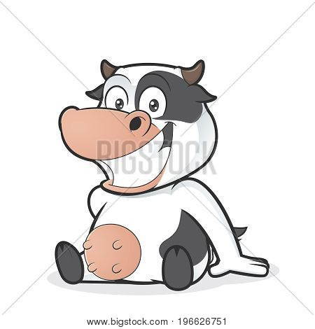 Clipart picture of a cow cartoon character sitting