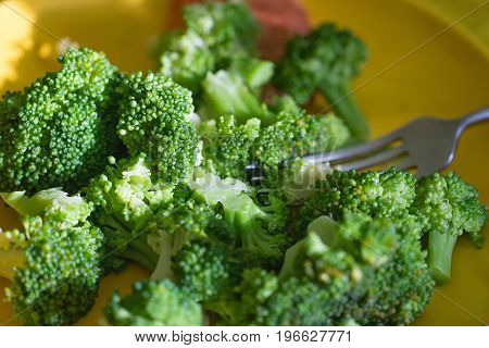 Fresh broccoli cut in yellow plate healthy natural clean food vegetable on wood background