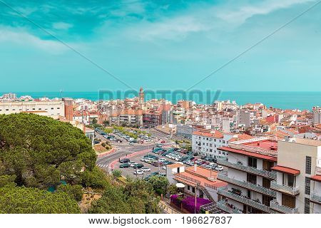 Hill view on Calella town Catalonia Costa Brava Spain