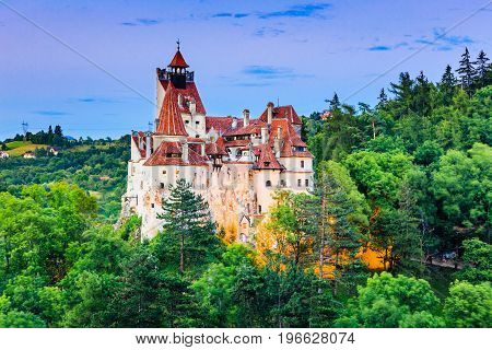 Brasov Transylvania. Romania. The medieval Castle of Bran known for the myth of Dracula. poster