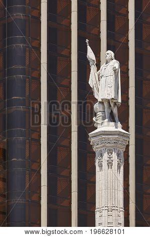 Colon statue in Madrid downtown. Spanish heritage. Urban. landmark. Spain