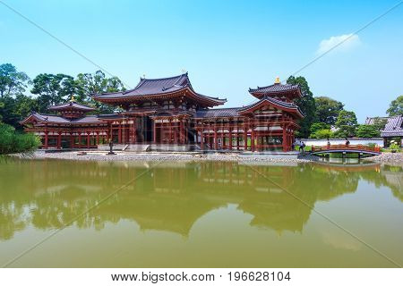 Byodo-in Beautiful Japanese style temple in summer season. This is the very famous Tourist attraction in Uji city near Kyoto Japan.