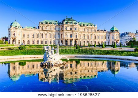 Vienna Austria. Upper Belvedere Palace with reflection in the water fountain.