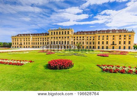 Vienna Austria - 28 June, 2017: Schonbrunn Palace with gardens. The former imperial summer residence is a UNESCO World Heritage site.