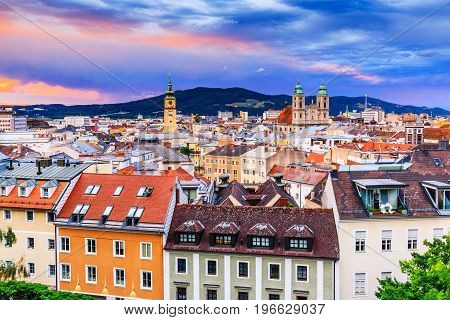 Linz Austria. Panoramic view of the old town.