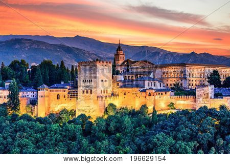 Alhambra of Granada Spain. Alhambra fortress at sunset.
