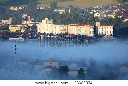 Prefab at morning with mist, Stara Lubovna district