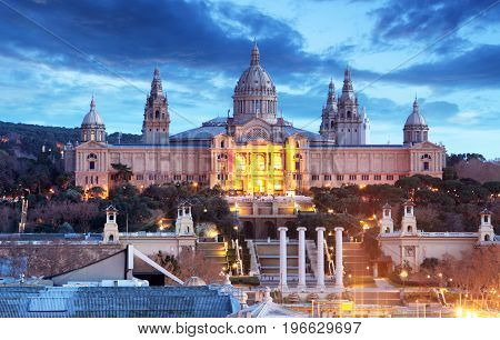 Palau Nacional situated in Montjuic at night Barcelona