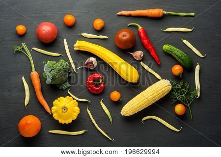 Different raw vegetables background.Healthy eating. Flat lay
