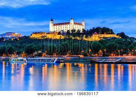 Bratislava Slovakia. View of the Bratislava castle and Danube river at the twilight.